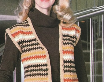 Vintage Crochet Multi-Color Stripe Vest Pattern