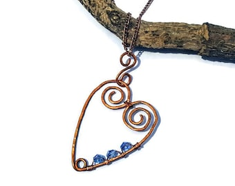 Heart Necklace, Wire Wrapped, Handmade, Crystals,Rustic, Copper, Glass Beads, Hammered