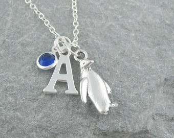 Penguin necklace, silver penguin jewelry, initial necklace, swarovski birthstone, personalized jewelry, gift for her, birthstone necklace