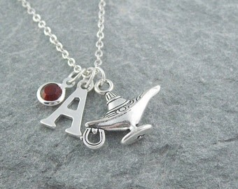 Genie lamp necklace, aladdin lamp, initial necklace, swarovski birthstone, personalized jewelry, gift for her, birthstone necklace