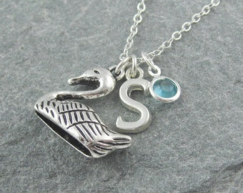 Swan necklace, silver swan pendant, personalized jewelry, initial necklace, swarovski birthstone, gift for her, swan jewelry, bird necklace