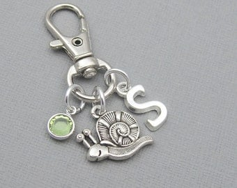Personalized snail purse charm, zipper charm, silver initial, crystal birthstone, gift for her, snail bag charm, snail keychain, purse clip