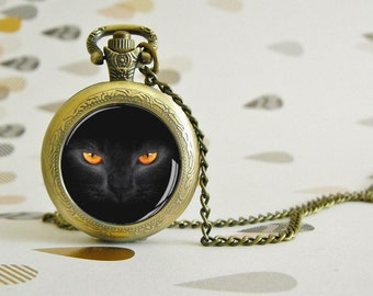 Black Cat - Pocket watch - Victorian Steampunk style - Glass cabochon - Special Easy gift