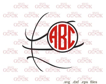 Basketball SVG cut files, Basketball Monogram Frame svg cut files for use with Silhouette, Cricut and other Vinyl Cutters, digital cut file