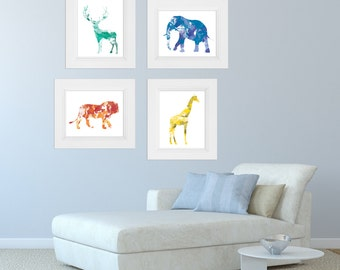 Watercolor animal prints. Nursery decor prints. Nursery animal prints. Nursery wall art Home wall art Apartment wall art. Baby shower gift.