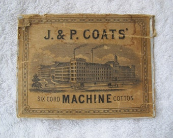J & P Coats Six Cord Machine Cotton 1800's Cardboard Box Lid / Antique thread box lid / Sewing ephemera