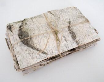 10 Natural birch bark sheets birch bark craft birch wood sheets birch straps strips wooden wedding rustic decoration supply centerpieces