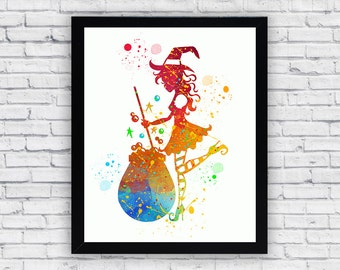 Witch Watercolor printable, Witch Printable Wall Art, Witch wall art, Witch printable poster