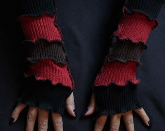 Deadpool Fingerless Gloves, Upcycled/Recycled Sweaters, Arm Warmers, Katwise Style, Boho, Writer's Gloves, OOAK