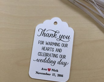 Thank You for warming our hearts Favor Tags,Hot Cocoa Favors,Pine Cone Fire Starter Favors,Candle Favors,Winter Wedding Favors