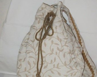 Wool embroidered silk and linen hobo bag