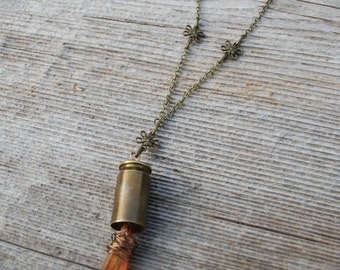 Bullet flower necklace with wire wrapped tangerine quartz