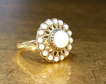 Antique Pearl Alternative Ring | Vintage Halo Ring | Victorian Halo Ring | Rose Gold Pearl Ring | 1800s Engagement Ring | Size 4 Ring