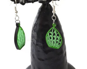 Earring Quilling Leaves Cage Green Black