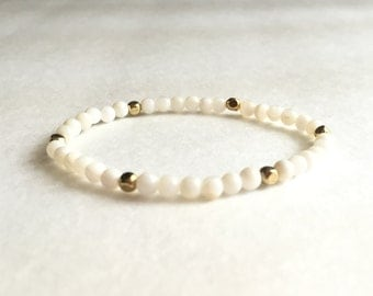 White and Gold Stretch Bracelet