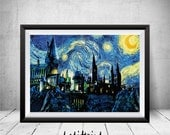 Hogwarts Starry Night Print, Harry Potter Print, Hogwarts Castle Print, Harry Potter Art, Hogwarts Art Print, Van Gogh, Hogwarts Art