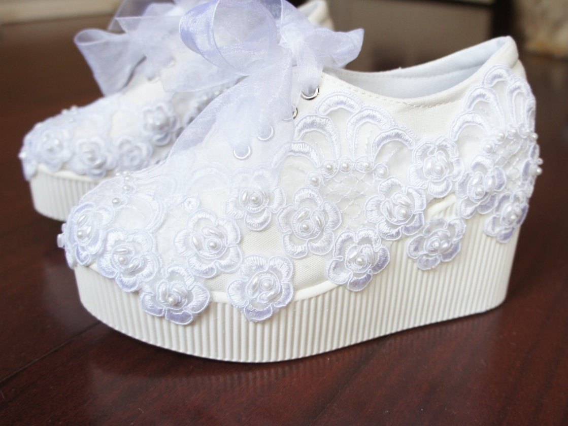 Wedding Shoes Size 6 8 Last Ones In This Lace Platform Wedge Sneakers Bridal Tennis White Briana