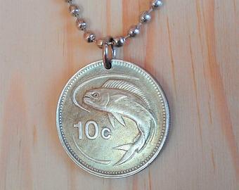 Malta Coin Necklace, Fish Coin Pendant, Malta 10 Cents coin charm, Animal Coin jewelry