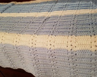 Light Blue, White and Baby Blue  Striped Baby Blanket