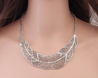 Silver Bronze Leaf Necklace - Free Shipping