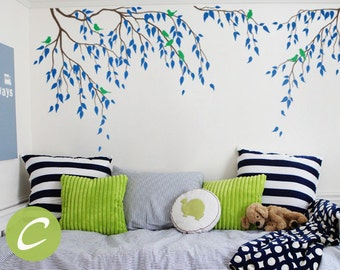 Tree wall decal Nursery tree decal Vinyl nursery decal Branches and birds decal Wall decor for nursery Vinyl wall decal Wall art - AM001