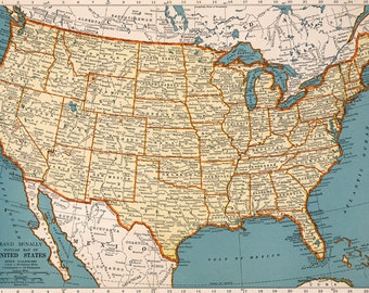 USA Map Digital DownloadNorth America Map Instant Digital - Usa map high resolution