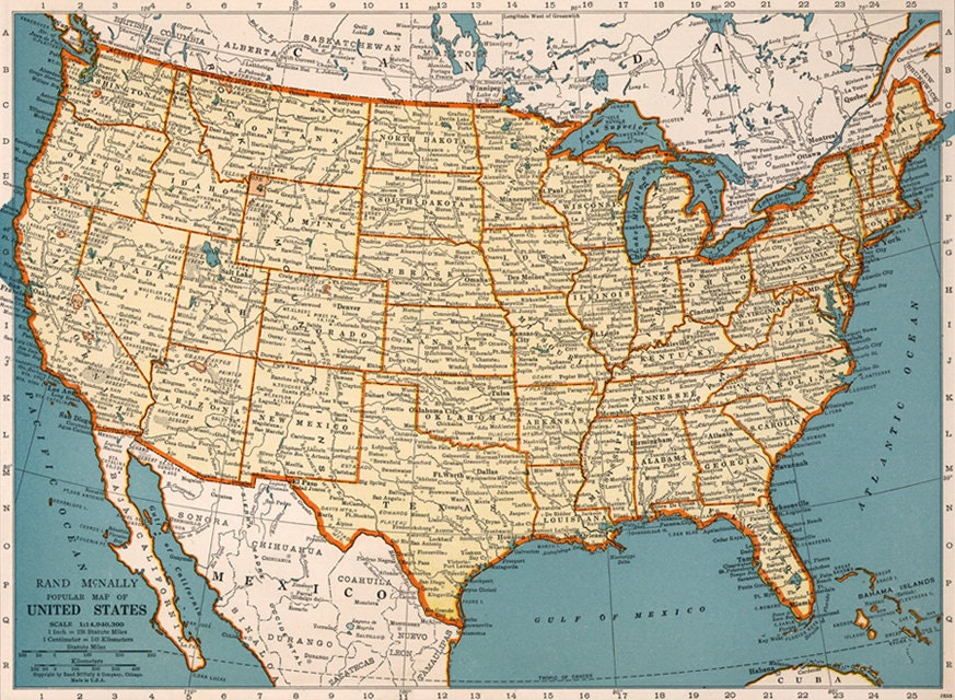 Old Map Of United States Of America Map Digital Vintage Art - Full us map