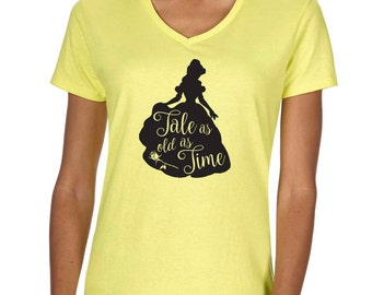 """Beauty and the Beast Belle Disney """"Tale as old as time"""" Vneck Tshirt"""