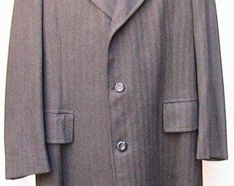 Size 44 Vintage 1980s Herringbone Wool Overcoat