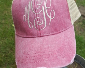 Monogrammed Distressed Trucker Hat, Embroidered