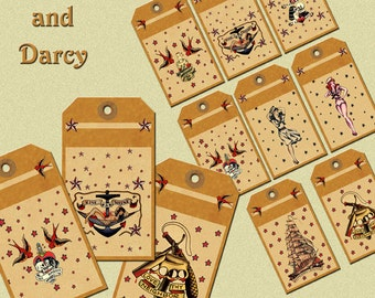 Sailor Jerry style Gift tags! digital download, digital collage, retro, rockabilly!