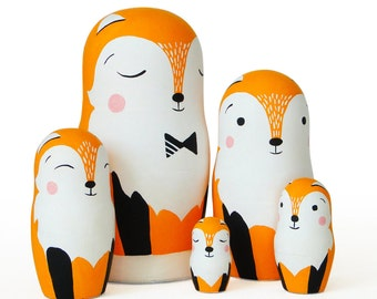 "Fox Family, Nesting Dolls, 6,1"",  5 pcs"