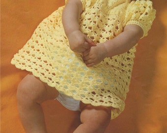 Baby Girls Dress and Shoes Crochet Pattern : Babies 18 inch chest . 3 ply . PDF Crochet Pattern . Digital Download