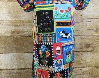 Back to School Dress Size 5 - A Line Dress in Primary Colors - Hand Prints and ABC's Dress - Dress for Girls Back to Shcool - Girls Dress