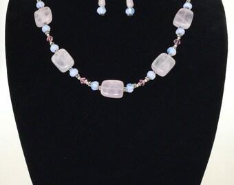 Handcrafted Pink Quartz and Swarovski Crystal Jewelry Set