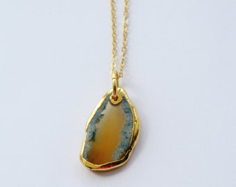 Crystal necklace, gold dipped agate crystal