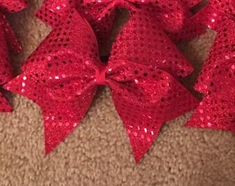 Sparkle Confetti Red Cheer Bow