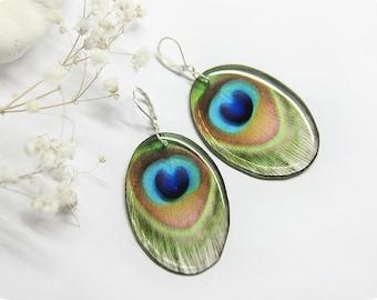 Feather earrings for women gift feather peacock earrings Sister gift for wife boho earrings green jewelry animal earrings indian earrings