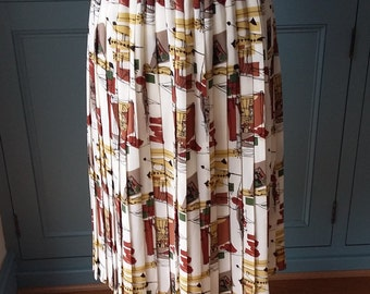 Skirt, pleated, 1950s-style print