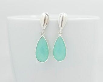 Aqua Chalcedony Earrings, Chalcedony Drop Earrings, Chalcedony Dangle Earrings, Chalcedony Silver Earrings, Silver Chalcedony Drop Earrings