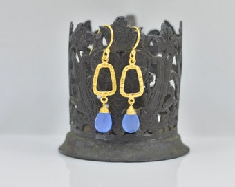 Blue Chalcedony Earrings - Chalcedony Dangle Earrings - Chalcedony Silver Earrings - Chalcedony Gold Earrings - Chalcedony Drop Earrings