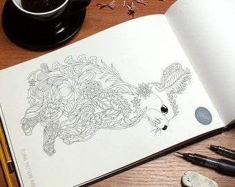 Floral Pattern Animal Design-Rabbit