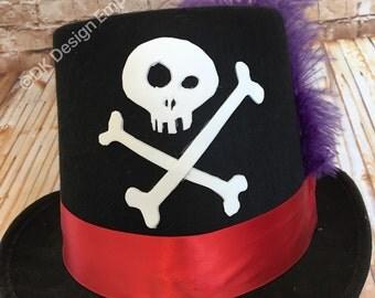 Shadowman Top Hat - Facilier Inspired Hat - Voodoo Man Hat - Skull & Crossbones Hat - New Orleans Costume - Voodoo Priest Costume - Villain