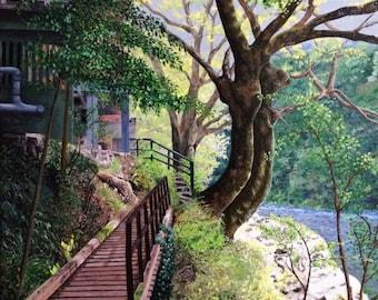 Fine Art Print Greeting Card - Tama River in Ome