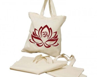 "om tote bag- tote bage design ""lotus flower om"" - women bag -lotus flower tote bag - digital print -yoga tote bag - 100% cotton- meditation"