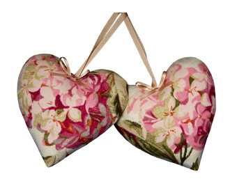 Padded Hanging Hearts - Laura Ashley Hydrangea pink natural fabric