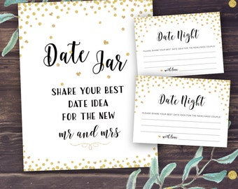 Date Night Jar Sign, Date Night Ideas, Cards Printable, Wedding Shower Decor, Bridal Shower Games, Gold Confetti Glitter, Instant Download