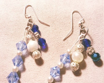 Beautiful Drop Earrings with Swarovski Crystals in shades of Blue