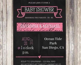 Printable Chalkboard Baby Shower Invitation