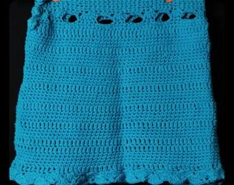 Crochet Turquoise blue cotton skirt